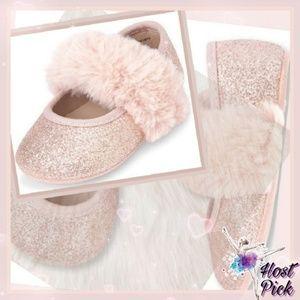 New! Baby Girls Faux Fur Glitter Ballet Flats